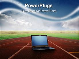PowerPoint template displaying view of a laptop lying on a running track in the background.