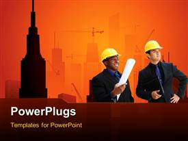 PowerPoint template displaying high rise construction in the background.