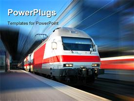 PowerPoint template displaying modern high speed train running over track with blurred background