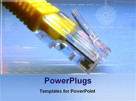 PowerPoint template displaying network cable in the background.