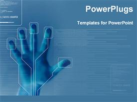 PowerPoint template displaying program for finger printing security in the background.