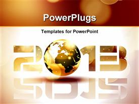 PowerPoint template displaying happy new year 2013 with earth globe representing letter 0