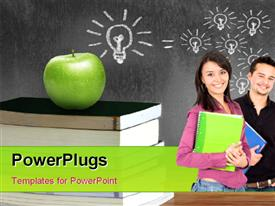 Apple over a books background and a blackboard template for powerpoint