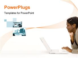 PowerPoint template displaying attractive young black woman using a laptop computer on the floor in the background.