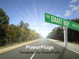 PowerPoint template displaying the Smart Way street sign with highway, trees and blue sky