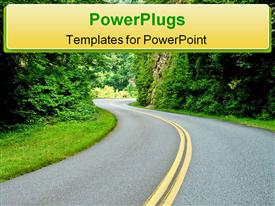 PowerPoint template displaying mountain road with curves leading to opening of sunlight