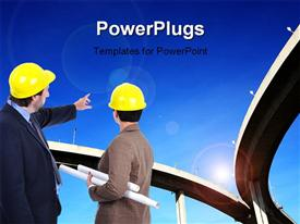 PowerPoint template displaying two engineers discussing and pointing to Highway overhead bridge