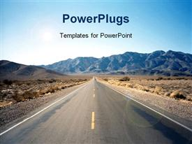 PowerPoint template displaying road through Nevada desert with hills in the background