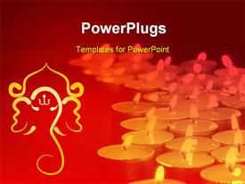 PowerPoint template displaying a number of lights with reddish background and Hinduism sign