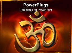 PowerPoint template displaying golden sacred syllable Aum in the background.