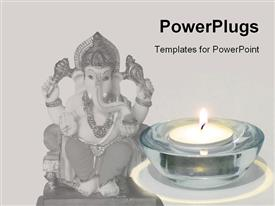 PowerPoint template displaying statue of Ganesha with candle, Hinduism, spirituality, world religion