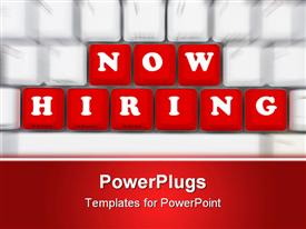 PowerPoint template displaying out of focus white computer keyboard with sharply focused red keys spelling now hiring