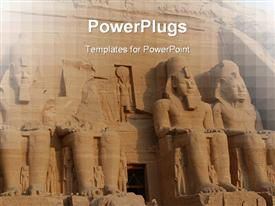 PowerPoint template displaying abu Simbel colossus, Egypt, Africa in the background.