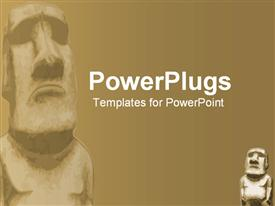 PowerPoint template displaying ancient religious stone temple type figure in the background.