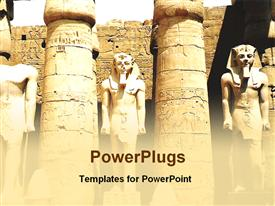 PowerPoint template displaying ancient Egyptian pharoah statues with columns, ruins, archaeology, Egypt
