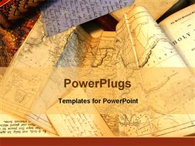 PowerPoint template displaying old tan maps of the world for travelers planning routes longitude and latitude