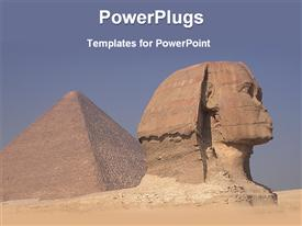 PowerPoint template displaying egyptian pyramid and a statue on a vast desert