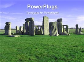 PowerPoint template displaying stonehenge in the UK on sunny day in the background.