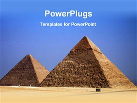 PowerPoint template displaying the pyramids of the Egypt with sky in the background