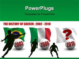 PowerPoint template displaying flags of countries that won world soccer competition and corresponding years