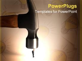 Business figurines placed on a hammer powerpoint theme