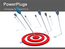 PowerPoint template displaying one arrow hits the bulls eye while several others miss the mark