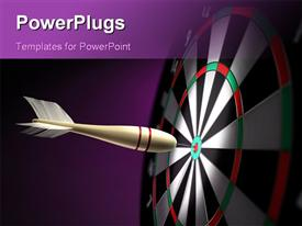 PowerPoint template displaying a dart hitting at the center of the dartboard and purple background