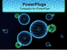 PowerPoint template displaying blue and green hive virus cells with black background, medicine