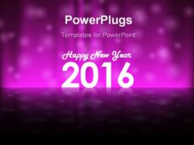 PowerPoint template displaying holiday purple colored background for New Year Eve 2016