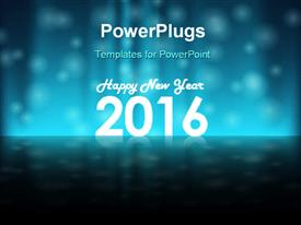 PowerPoint template displaying glossy holiday background for New Years Eve 2016 with snowflakes and text Happy New Year in the background.
