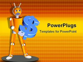 Robot holding 3D Dollar symbol powerpoint design layout