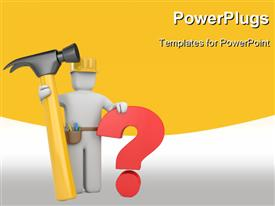 Worker with hammer and question presentation background