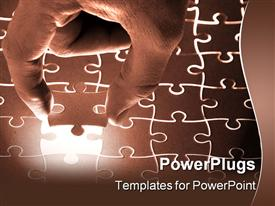 PowerPoint template displaying male hand lowering final puzzle piece into illuminated jigsaw puzzle, problem solving metaphor