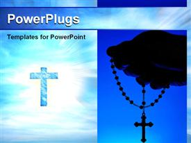 PowerPoint template displaying collage of hand holding rosary and cross against bright light in sky