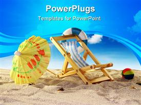 PowerPoint template displaying beach with a beach ball, chair, and yellow umbrella