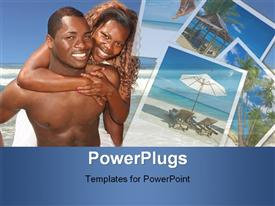 PowerPoint template displaying a happy couple smiling and playing together at the beach