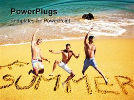 PowerPoint template displaying three persons jumping in the air with sea in the background