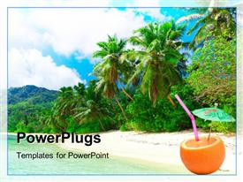 PowerPoint template displaying beautiful view of tropical beach with palms and parasol in orange