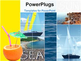 PowerPoint template displaying holiday depiction with collage of beach, yatch and parasol in fruit