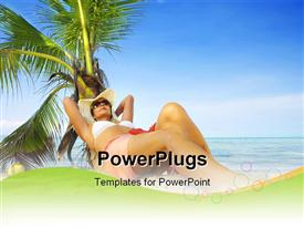 PowerPoint template displaying beautiful lady resting at tropical beach with palms and blue sky