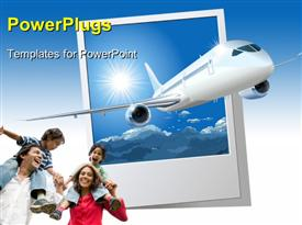 PowerPoint template displaying an airplane with a family happy for vacations