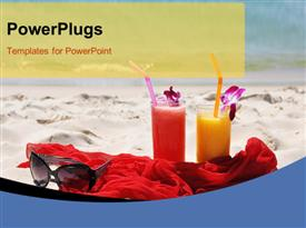 PowerPoint template displaying pair of fruit shakes, red shawl and sunglasses on the beach of Phuket island
