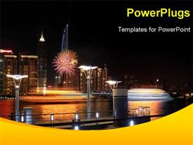 PowerPoint template displaying lots of high buildings with lights and a ship by the sea side