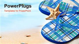 PowerPoint template displaying starfish between colorful flip flops sitting on sandy beach