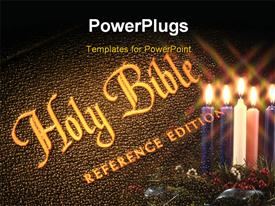 PowerPoint template displaying the holy bible with a number of candles