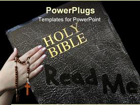 PowerPoint template displaying pair of hands holding rosary and dusty Holy Bible with read me written in dust