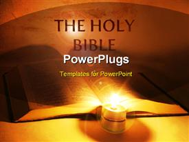 PowerPoint template displaying holy bible with lighted candle in orange background
