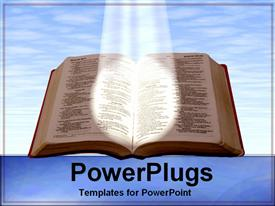 PowerPoint template displaying holy bible shining a light blue skies reading on blue background