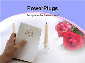 PowerPoint template displaying man hand holds up a white Holy Bible. Two taper candles burn in the background