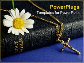 PowerPoint template displaying black colored Bible with a white flower and cross chain